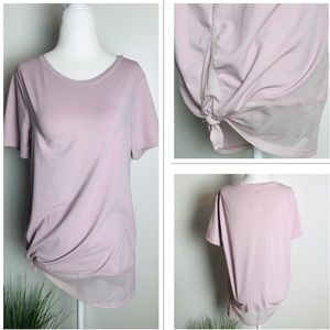 Fabletics Blush Pink Mesh Hemp Side Tie Shirt Med